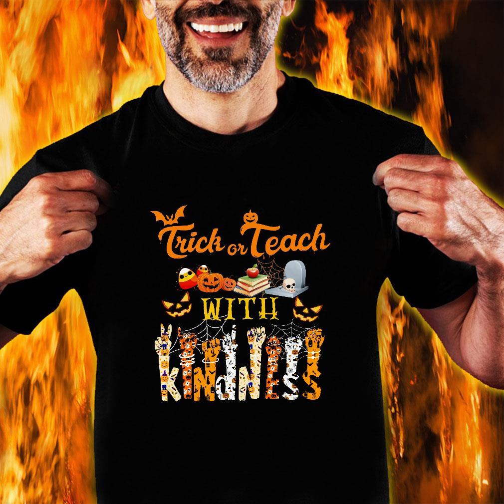 Trick or teach with kindness halloween shirt unisex