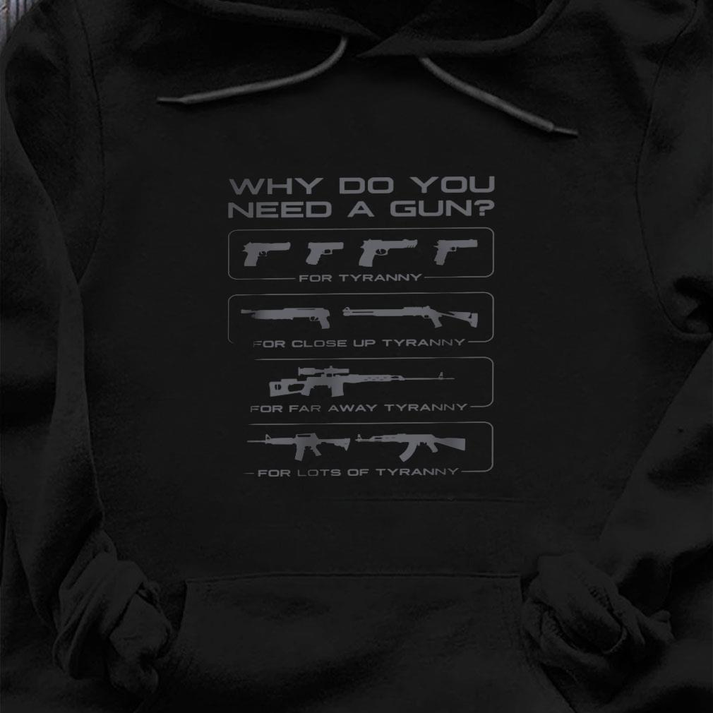 Why do you need a gun for turanny for close up turanny for far away turanny for lots of tyranny shirt hoodie