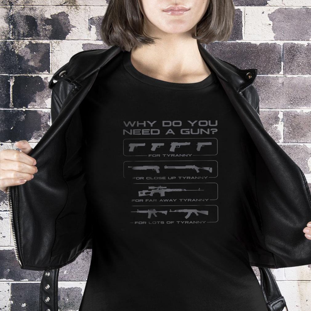 Why do you need a gun for turanny for close up turanny for far away turanny for lots of tyranny shirt ladies tee